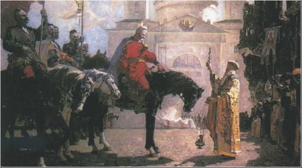 Благословення черкаського старости Остафія Дашкевича перед Кафедральним собором у Каневі